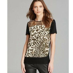 H&M leopard print top with faux leather sleeves 4